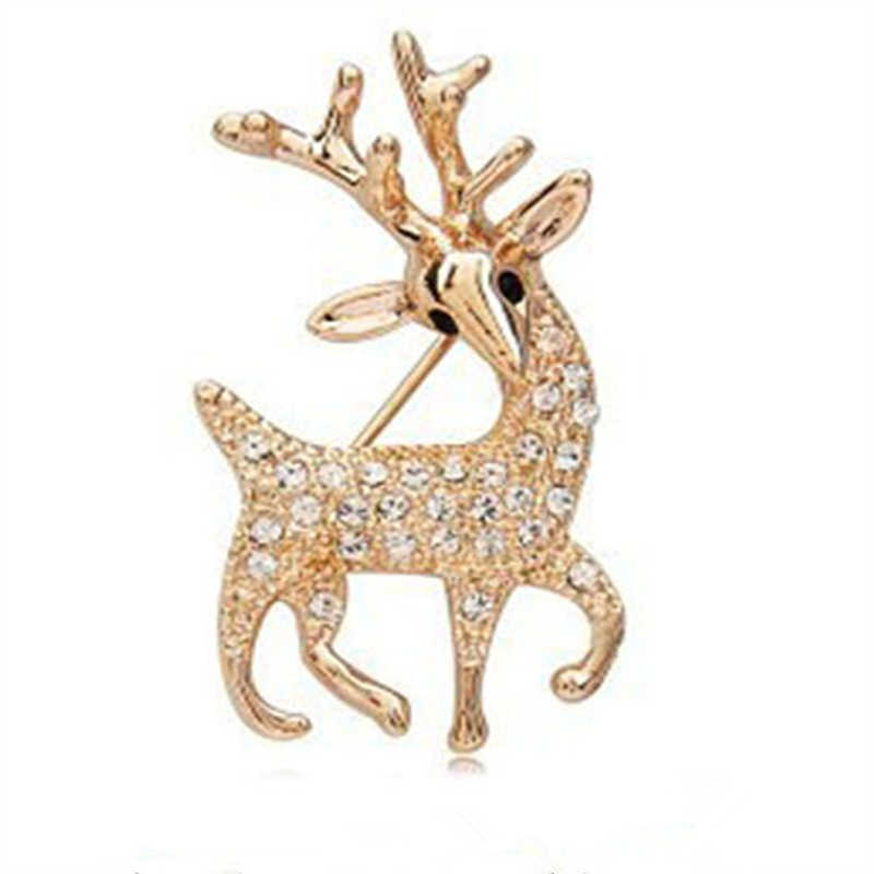 Hot Sale Korean White Crystal Gold Color Metal Deer Luxury Exquisite Fashion Brooch Pins for Women Sweater Christmas Daily Use