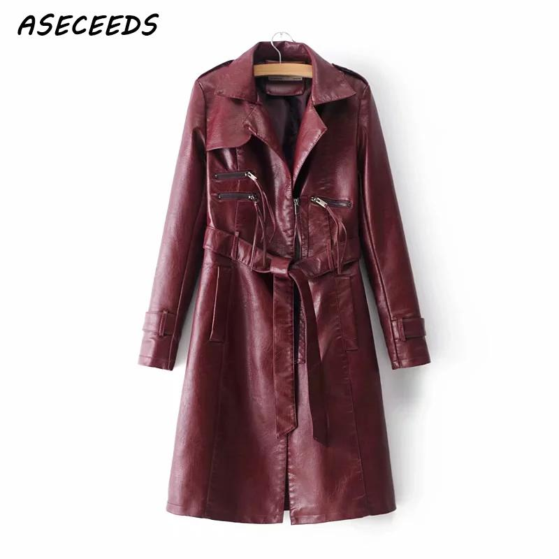 Autumn winter black pink Faux leather jacket women long coats Streetwear sashes zipper windbreaker PU jacket female full 2018