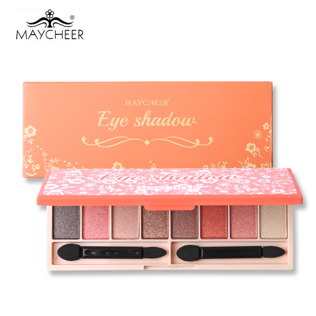 MAYCHEER 8 Color Exquisite Shimmer Eyeshadow Palette Makeup Beauty Nude Diamond Glitter Metallic Eyes Shadow with Brush & Mirror