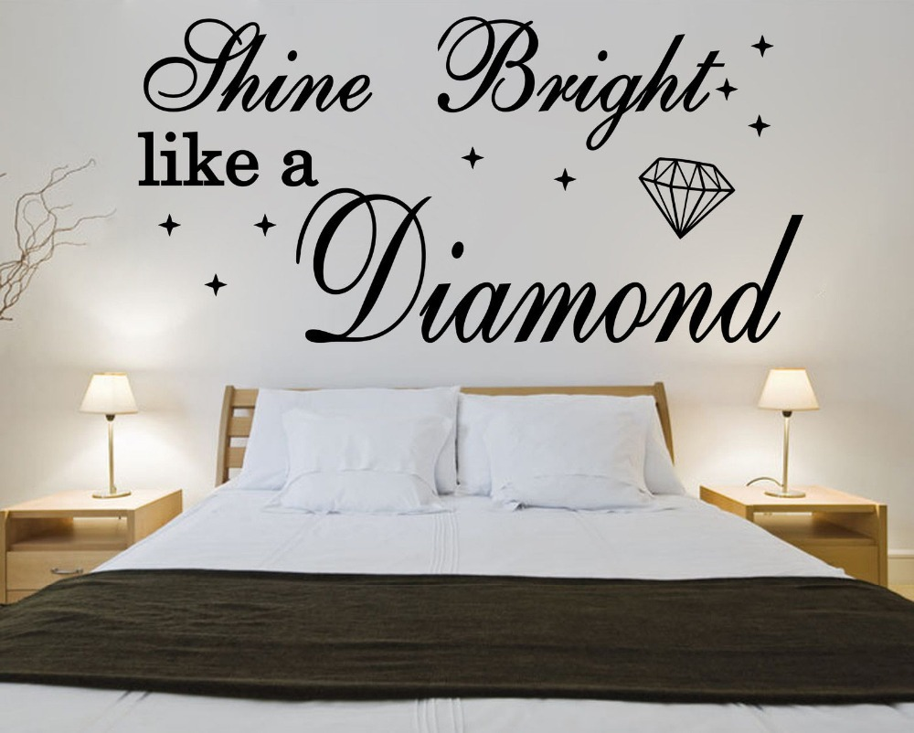 Shine bright like a diamond rihanna vinyl quote wall for Best quotes for wall art