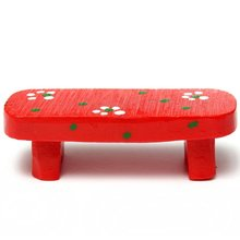 Miniature Cute Bench Micro Landscape Dollhouse Plant DIY Craft Home Garden  Decor Ornament Red(China