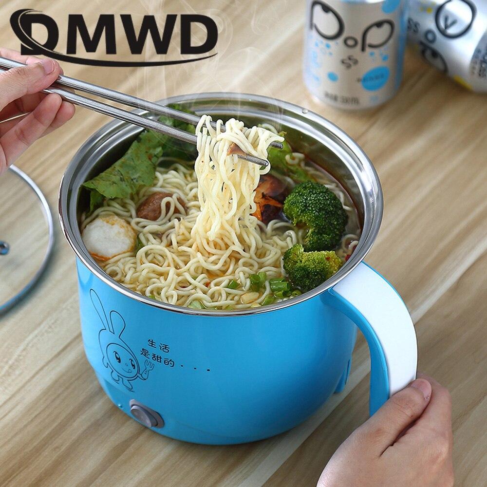 DMWD многофункциональный Электрический сковородке Нержавеющаясталь Hot pot лапша рисовая Плита пару яиц суп мини Отопление Пан 1.8L ЕС и США