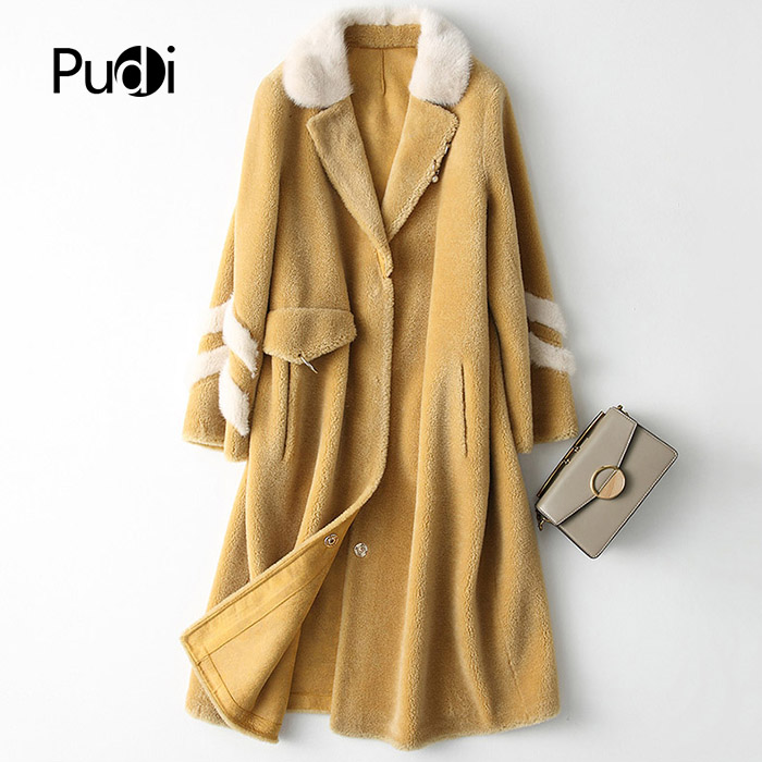PUDI A18172 women's winter real wool fur mink collar warm jacket coat lady Long coat jacket overcoat