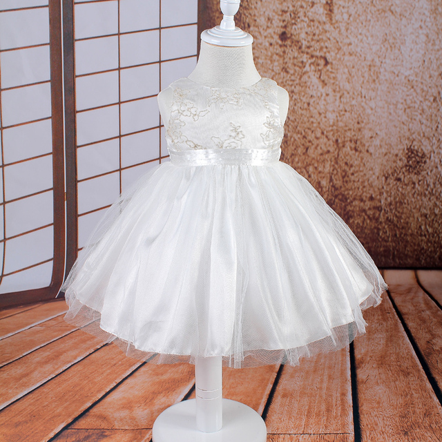 Hg Princess Rushed Selling 3m-24m Infant Dress Mesh Knee-length Baby Flower Girl Dresses Ivory Lolita Style Newborn Clothing