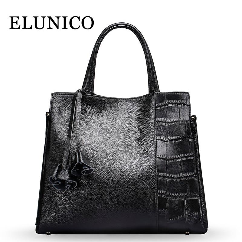 ELUNICO Real Leather Women Handbag Fashion Genuine Leather Shoulder Bags Handbags Women Famous Brands Crossbody Messenger Bag