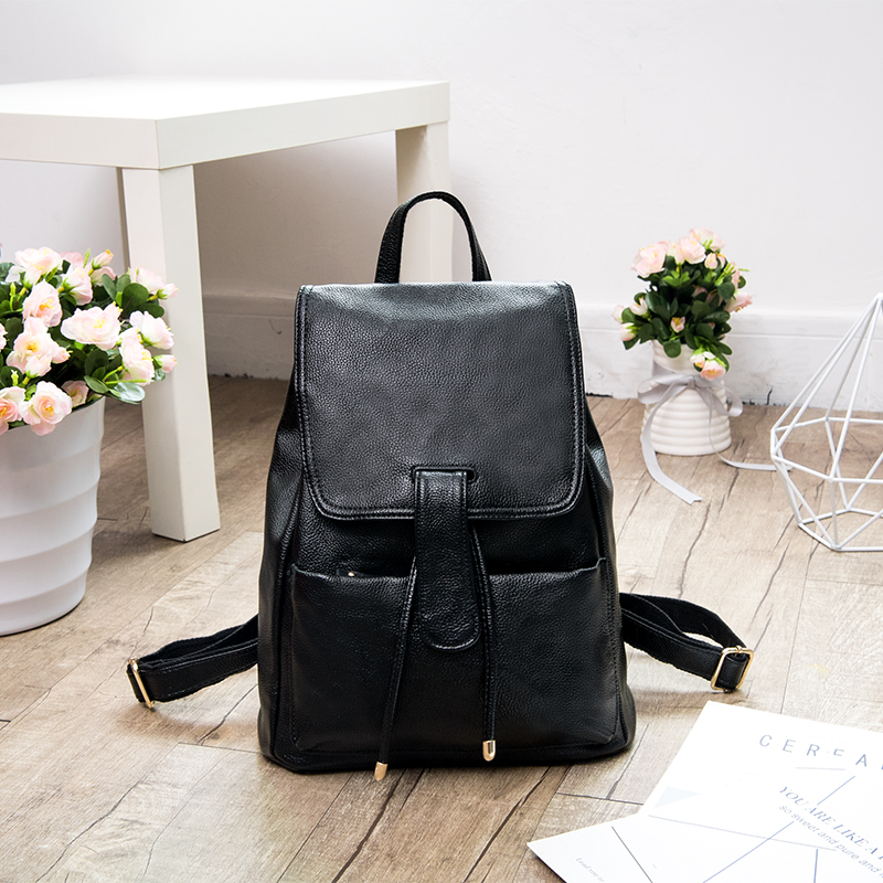 HANYUNA BRAND 2017 New Fashion Cow Leather Backpacks for Women Use, Japan and Korean Style Female Bag, Casual Ladies Packbags fashion star 2017 new fashion women s hand recliner leather bag female casual style