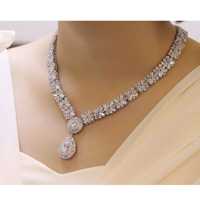 Swiss Cubic Zirconia Crystal  Necklace Sets for women – CZ Necklace Jewelry Sets For Women