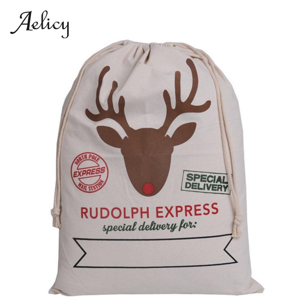 Christmas Sacks Styles Canvas Santa Sacks Xmas Gift Bag Decoration Santa Claus Deer Festive Supplies Year