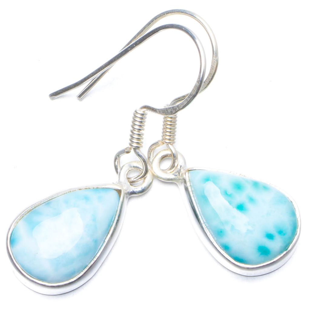 Natural Caribbean Larimar Handmade Unique 925 Sterling Silver Earrings 1.25 Y0681