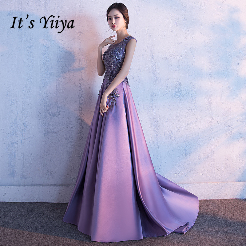 It's YiiYa Elegant O-Neck Sleeveless Backless   Evening     Dresses   High Quality Chapel T Floor Length   Dress   LX005