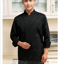 Chef Wear Long Sleeved Autumn and Winter Hotel Kitchen Clothing Restaurant Chef  Uniform Black Chef Jacket Work Wear Uniform