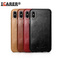 Icarer Curved Retro Vintage For Apple IPhone X 10 Original Real Genuine Natural Cow Skin Leather