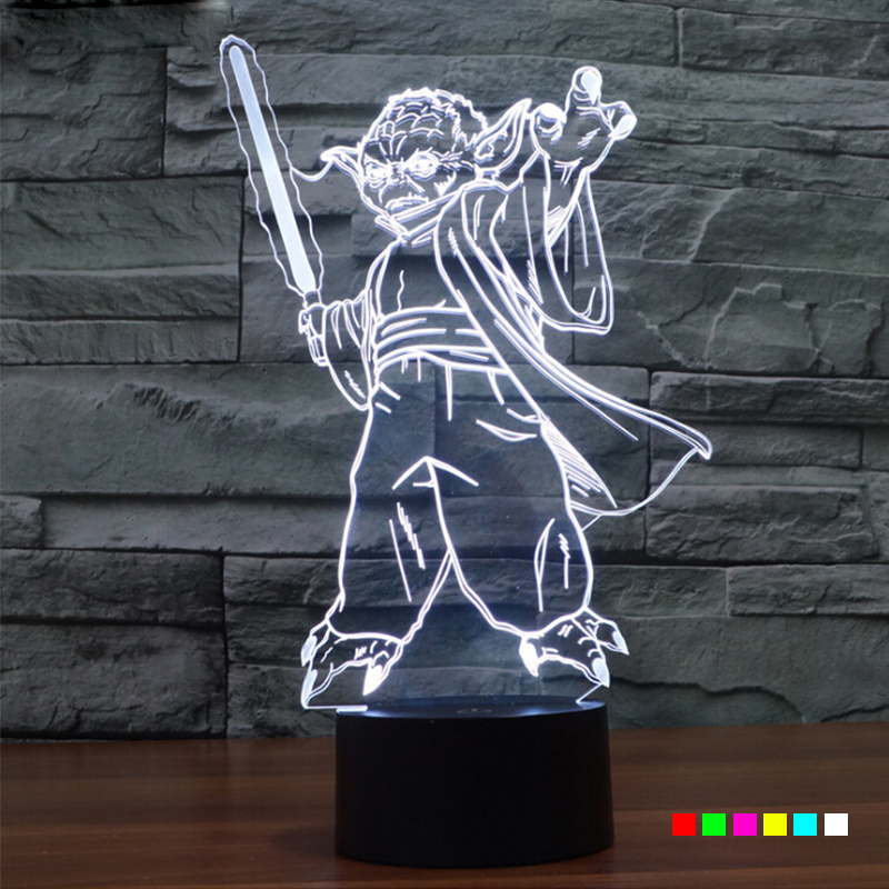 AGM Star Wars Master Yoda LED 3D Touch Table Lamp Sleeping Night Lights Novelty 7 Colors Changing Lighting For Kids Gifts Toy star wars master yoda plush stuffed toy