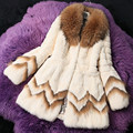 2016 Autumn Winter Women's Real Rabbit Fur Coat with Raccoon Fur Collar Female Slim Outerwear Coats VK2217