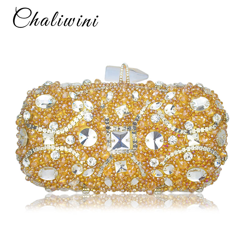 33f11e3d579 New Design Ladies Clutch Bags Gold Diamond Sequined Evening Bag Women  Beaded Wedding Party Floral Messenger Clutch Chain-in Top-Handle Bags from  Luggage ...