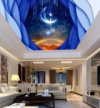 Wallpaper For Walls 3 D Custom 3D Wallpaper For Ceiling Star Moon Wall papers Home Decor Sky Ceiling Wallpaper(China)