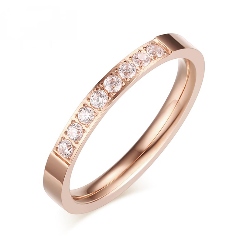 heyrock 3mm shining rhinestone rings for women rose golden stainless steel cute lady girl wedding bands