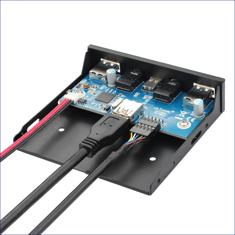 USB 3.1 Type C Floppy Drive Panel & 2 Port USB 3.0 Hub & Audio Port Chassis Front Panel with 20Pin Cable