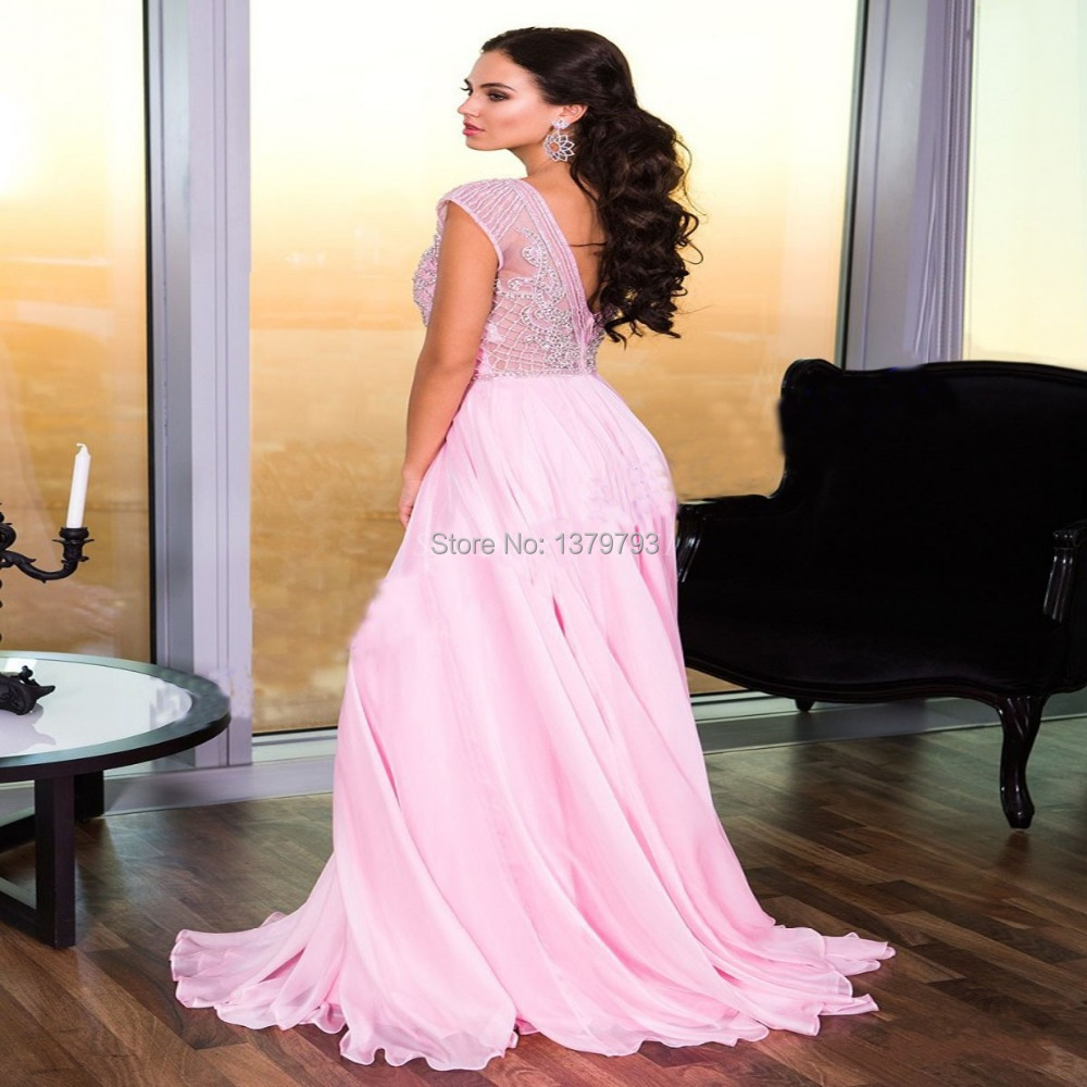 Vestidos De Noiva Blush Pink A line Chiffon Floor length Long Prom ...