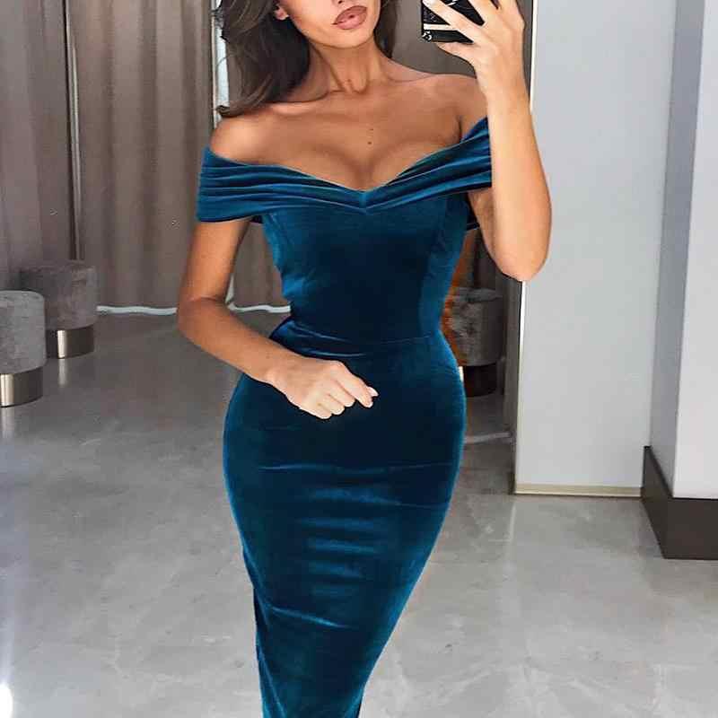 Sexy Women Off Shoulder Velvet Wrap Dress 2019 Spring Slash Neck Bodycon  Party Dress Elegant Female 7d8f89baef5e