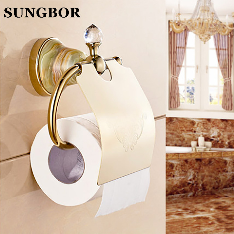 Wholesale And Retail Golden Jade Toilet Roll Paper Rack with Phone Shelf Wall Mounted Bathroom Paper Holder Free Shipping 95808H free shipping wholesale and retail wall mounted toilet paper holders antique brass creative bathroom roll paper rack rod