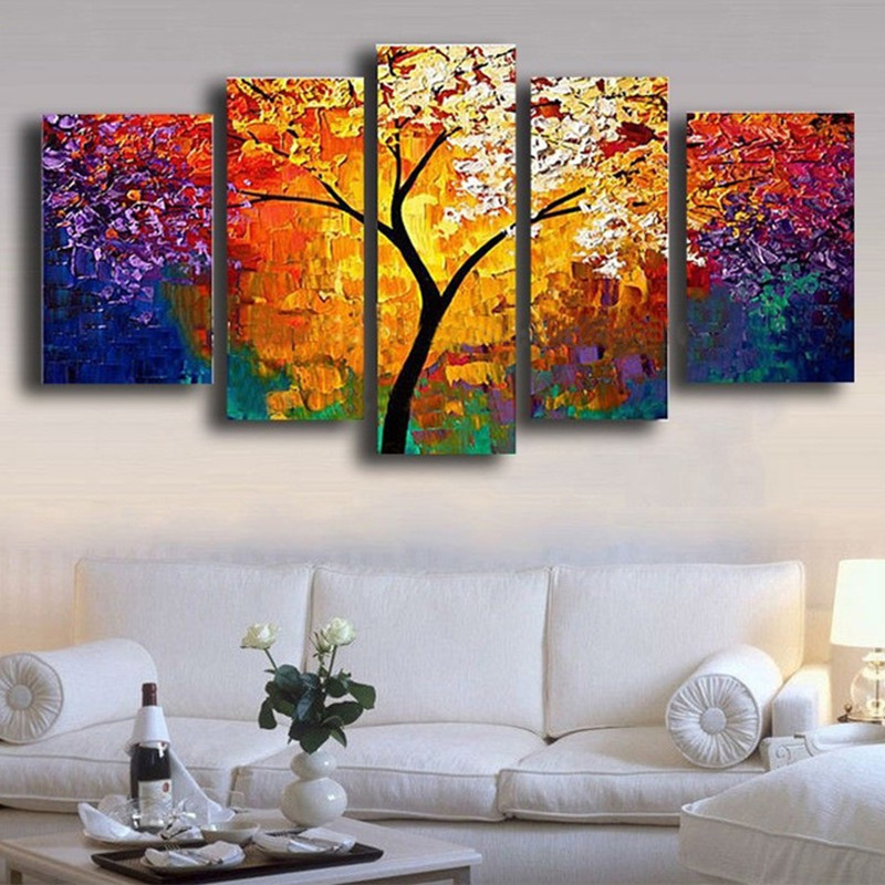 Large Arts Hand Painted Flowers Oil Paintings on Canvas Knife Pallete Floral Painting 5 Panel Wall