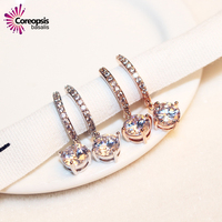 Brinco Wholesale Korean American Super Flash All Match Large Crystal Zircon Earrings Plated Color Temperament Female