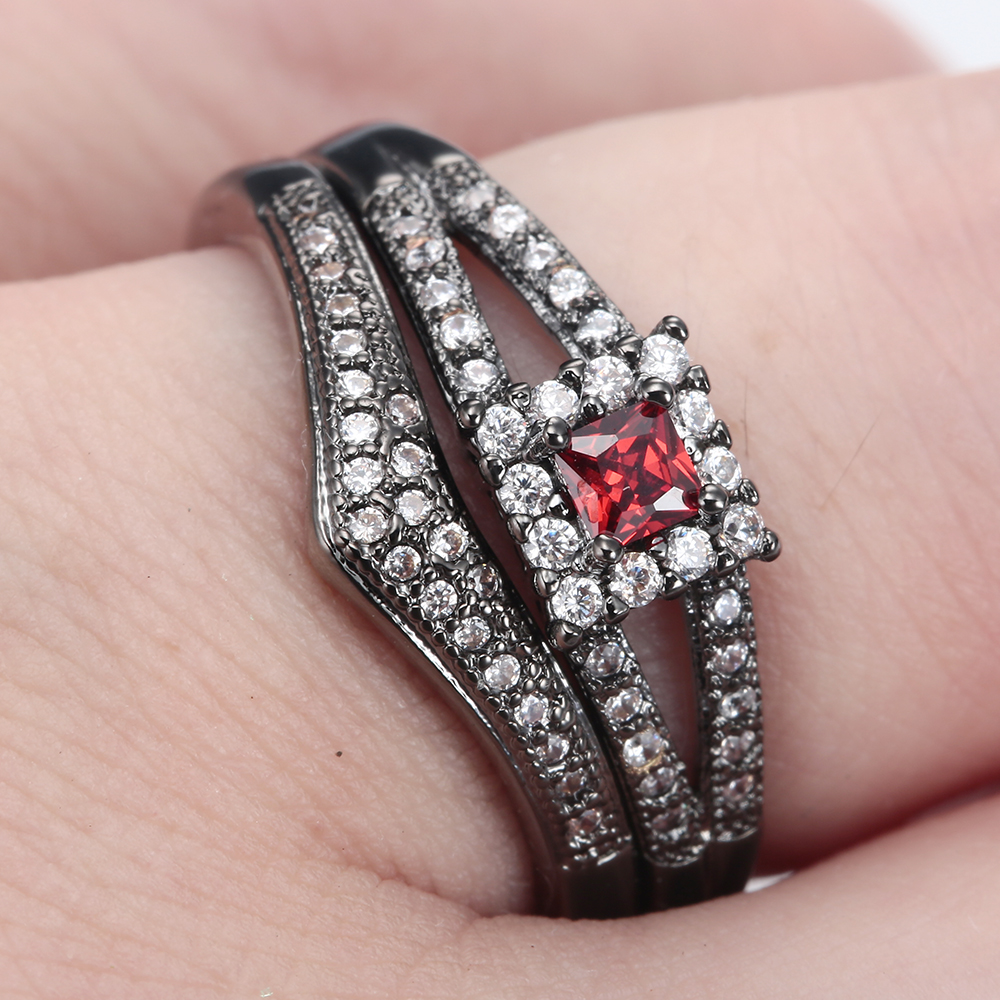 New Collection silver plated Brilliant Stackable Ring sets square ...