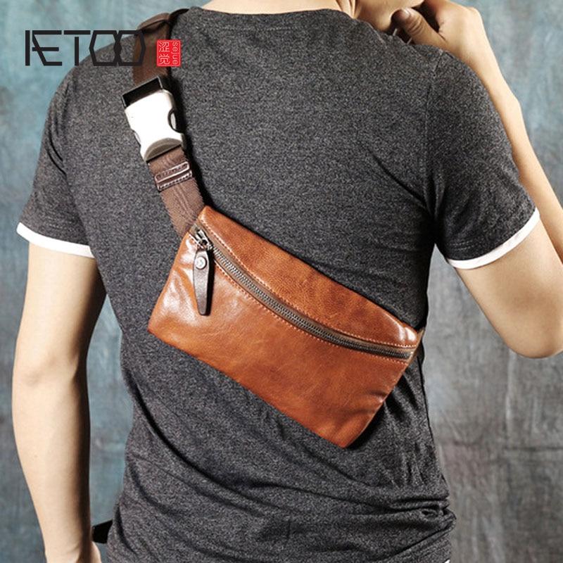 AETOO oryginalny retro handmade zamszowe męskie torba w klatce piersiowej torebka mini dorywczo torba na ramię torba młodzieży fala torba w Saszetki od Bagaże i torby na  Grupa 2