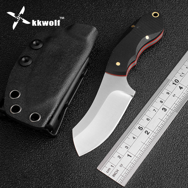 KKWOLF small fixed blade knife 9CR18MOV pocket knife CR 59HRC sharp camping survival hunting knives K sheath EDC rescue tool