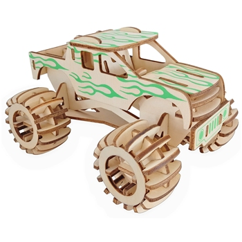 Laser Cutting 3D Wooden Puzzle Jigsaw Vehicle Monster Truck DIY Assembly Kit Kids Educational Wooden Toys For Children Boys laser cutting 3d wooden puzzle jigsaw construction ferris wheel diy manual assembly kids educational wooden toys for children