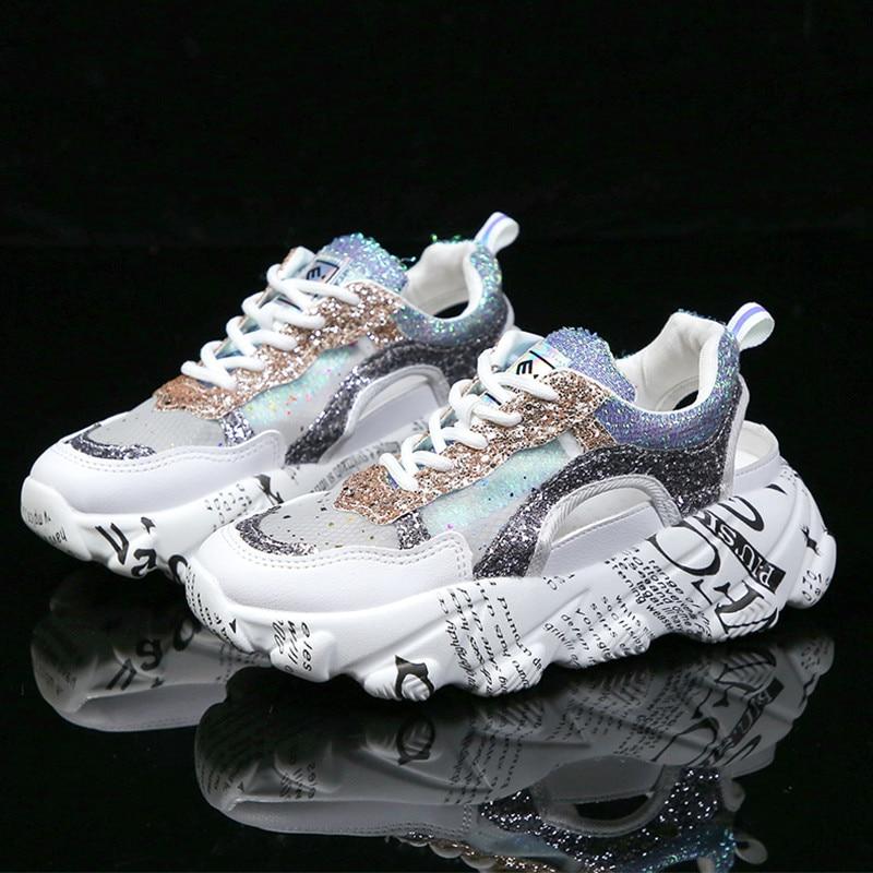 Sneakers Women New Graffiti White Summer Mesh Sneakers dames Glitter Chunky Wedge Sneakers Female Shoes Woman basket femme A1 14
