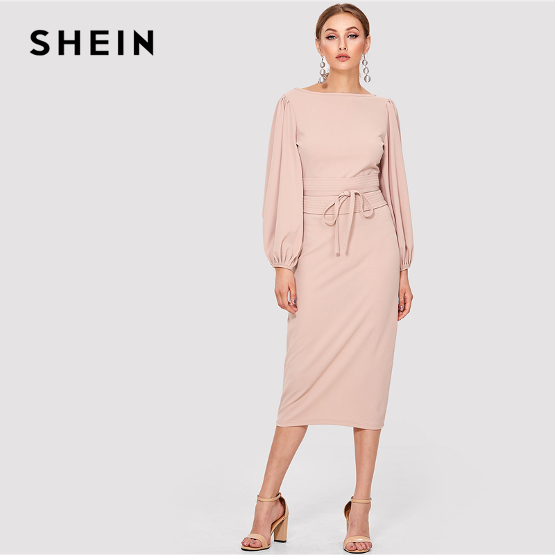 5d60389657 SHEIN Pink Elegant Tie Waist Boat Neck Bishop Long Sleeve Solid Dress 2018 New  Women Mid Calf Belted Party Dresses-in Dresses from Women's Clothing on ...