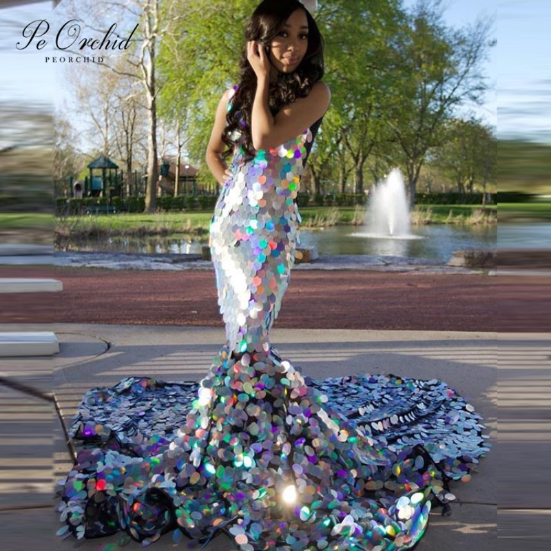PEORCHID Vestidos Formales Elegantes sSequin   Evening     Dress   Long 2019 Luxury Mermaid V Neck African   Evening   Gown With Train