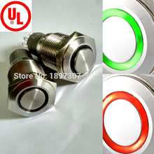 5 pieces 16mm anti vandal switch with Double Color Green/Red 6V 12V 24V 110V 230V Bi-color momentary 1no1nc or Latching 1no1nc