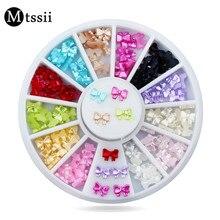 Mtssii, 12 моделей/набор, 3D дизайн, Рождественская наклейка для ногтей, блестящие бантики, дизайн ногтей, маникюр, наклейки s, наклейки для женщин, украшения ногтей