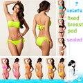 2016 new Swimsuit 7 colors Bikini bandage Swimwear Solid swim suit Women Sexy bikinis Push Up 2 piece bathing suits beach wear