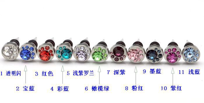 wholesale 8mm mixed 11 colors spike earrings moon gem stone round stud earrings men punk 2013 fashion jewelry