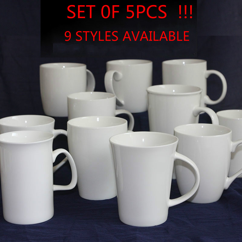 5 PCS MUG White Catering Mug Set Microwave Heating Can Be Used for Commercial Coffee Cup Family Gatherings