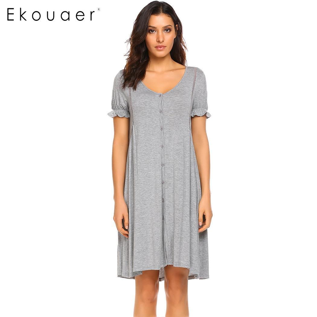 Ekouaer Women Soft   Nightgowns   Short Sleeve Night Dress Button Front Sleep Shirt Dress Lady Chemise   Sleepshirts