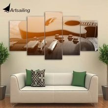 HD Printed 5 Piece Canvas Art Classical Guitar Painting Music Instrument Wall Pictures for Living Room Free Shipping CU-1884C