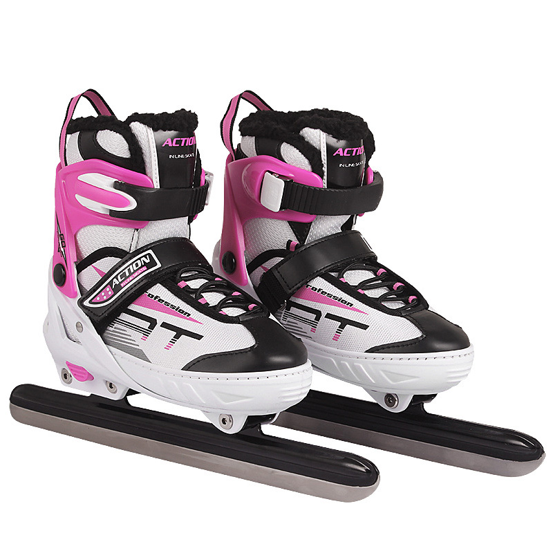 1 Pair Adult Women Children Ice Carbon Steel Blade Skates Shoes Thermal Size Adjustable Speed Skating Winter Sports Thick Fleece