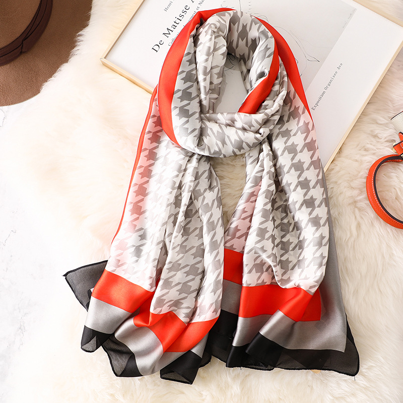 2019 Women Fashion 100% Pure Silk Scarf Female Luxury Brand Houndstooth Pattern Foulard Shawls And Scaves Beach Cover-Ups Hijab