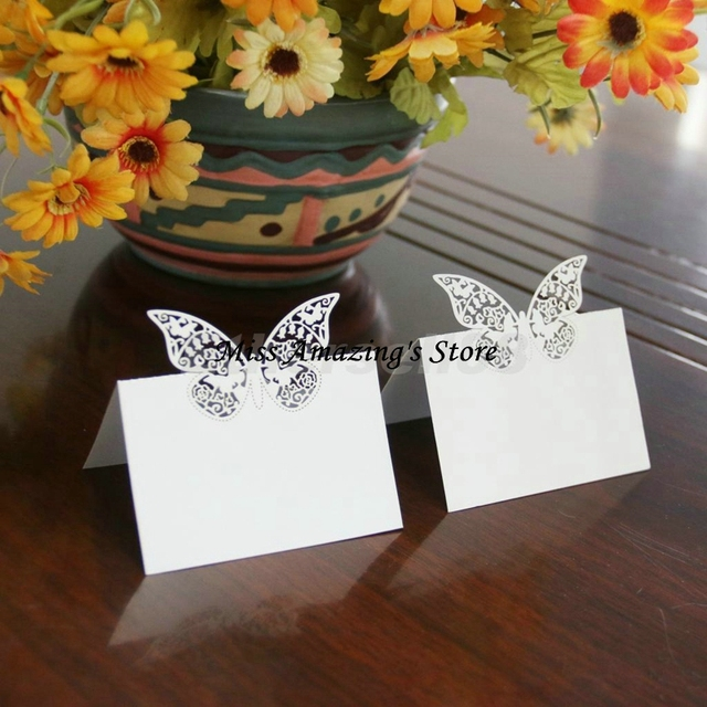 50x Butterfly Wedding Birthday Meeting Meal Table Place Setting Name ...