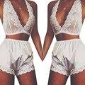 Feitong 2017 New 2 Piece Set Sexy Lingerie Lace Dress Babydoll Women Underwear Nightwear Sleepwear Lace Lingerie For Women White