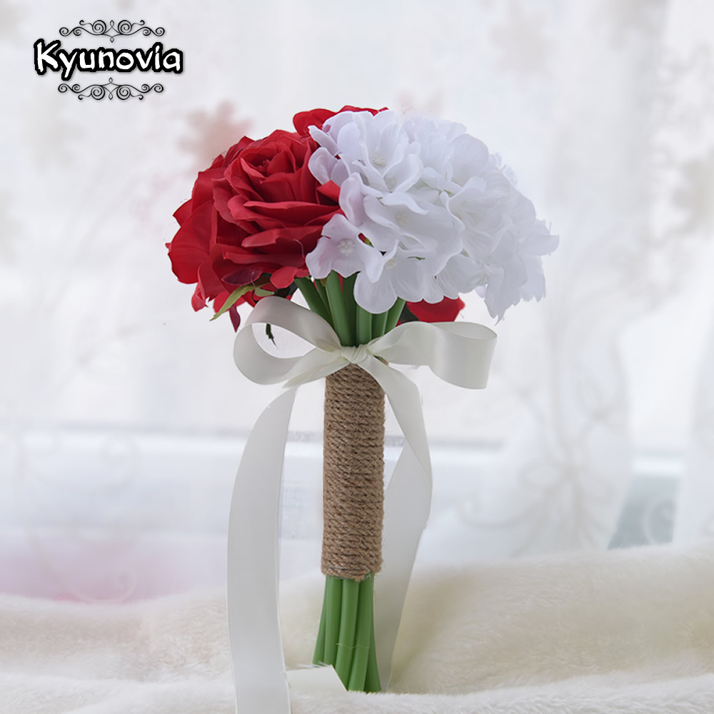 Kyunovia Small Silk Wedding Flowers Red White Hydrangea Bridesmaid