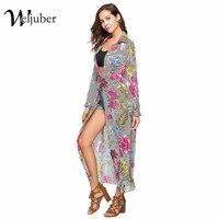 Weljuber Womens Boho Maxi Chiffon Dress 2018 Women Shirt Dress Bohemia Long Dresses High Quality Brand