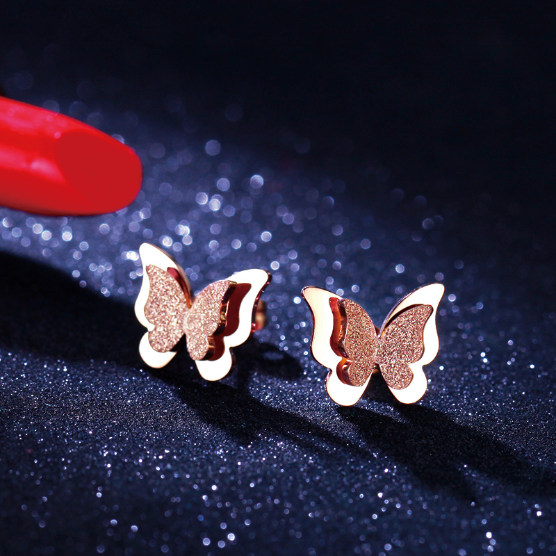YUNRUO Top Brand Rose Gold Color Frosted Butterfly Stud Earring for Woman Girl 316L Stainless Steel Fashion Jewelry Never Fade