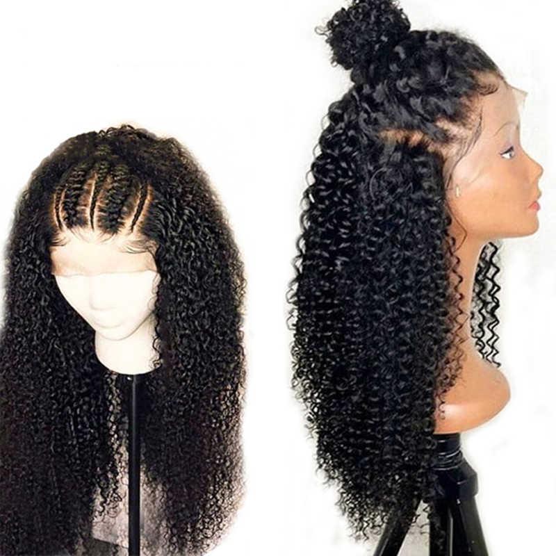 Солнечного света афро кудрявый парик 13x4 предварительно вырезанные кружевные парики 150% плотность перуанские Remy (Реми Короткие кружевные передние человеческие волосы парики для Для женщин