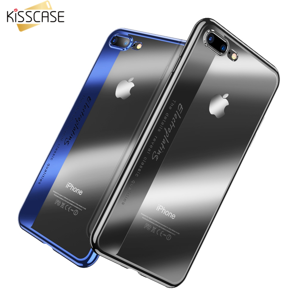 KISSCASE Phone Case For iPhone 6 6S Plus Cover Luxury Plating Soft TPU Phone Case For iPhone 7 8 Plus Coque Fundas For iPhone X